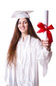 Graduate girl with diploma  isolated on white — Stock fotografie