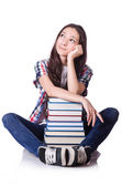 Young student with books isolated on the white — Stock Photo