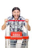 Man shopping with supermarket basket cart isolated on white — Stock Photo