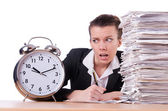 Woman businesswoman under stress missing her deadlines — Stock Photo