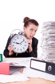 Woman businesswoman under stress missing her deadlines — Stock Photo