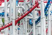 Railway of roller coaster in amusement park — Stock Photo