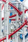 Railway of roller coaster in amusement park — Stock Photo