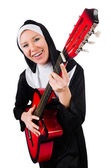 Nun with guitar isolated on the white — Stock Photo