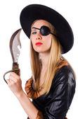 Donna in costume da pirata isolato su bianco — Foto Stock