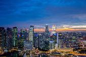 Panorama of Singapore skyline downtown — Stock Photo
