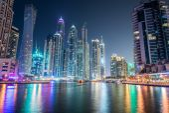 Dubai marina skyscrapers during night hours — Stock Photo