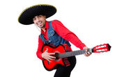 Man wearing sombrero with guitar — Photo