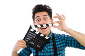 Man with movie clapperboard isolated on white — Foto de Stock