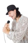 Man with mic isolated on white — Stock Photo