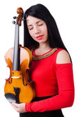 Woman playing violin isolated on the white — Stock Photo