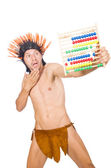 Native american in funny concept isolated on white — ストック写真