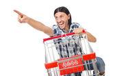 Shopping cart with supermarket basket — Stock Photo