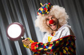 Angry clown with frying pan — Stock Photo
