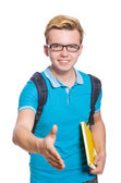 Young student isolated on the white background — 图库照片