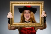 Woman pirate with picture frame — Foto Stock