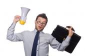 Jonge zakenman met luidspreker op wit — Stockfoto