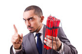 Man with dynamite stick isolated on white — Stock Photo