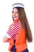 Woman with orange vest isolated on white — Stock Photo