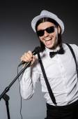 Funny singer with microphone at the concert — Foto de Stock