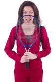 Woman in red costume in sports sporting concept — Stock Photo