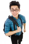 Student with backpack isolated on the white — Stock Photo