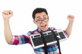 Computer nerd with keyboard isolated on white — Foto de Stock