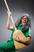 Funny man with brush and wig — Stock Photo