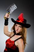 Woman pirate with sharp weapon — Stock Photo