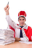 King businessman with lots of paperwork — Foto Stock