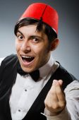 Man wearing traditional turkish hat fez — Stock Photo