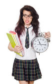 Young student missing exam deadline isolated on white — Stock Photo