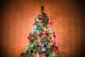 рождественская елка в темной комнате — Стоковое фото