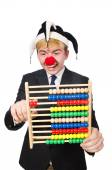 Clown with abacus isolated on white — Stock Photo