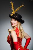 Pirate woman with feathered hat — Stock Photo