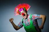 Funny clown against the grey background — Stock Photo