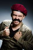 Funny soldier in military concept — Foto Stock