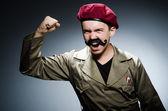 Funny soldier in military concept — Foto de Stock