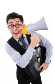 Young businessman with loudspeaker on white — Stock Photo