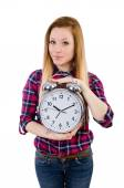 Woman with clock isolated on white — Stock Photo