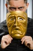 Funny concept with theatrical mask — Stock fotografie