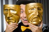Funny concept with theatrical mask — Stockfoto