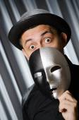Funny concept with theatrical mask — Foto Stock
