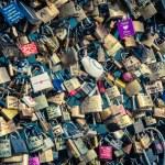 Locks of love at Paris bridge — Stock Photo #54421533