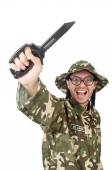 Funny soldier in military concept — Foto de Stock