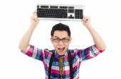 Computer nerd with keyboard isolated on white — Stock Photo
