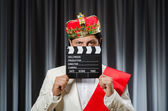King with movie board in funny concept — Foto Stock