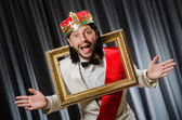 King with picture frame in funny concept — Stock fotografie