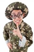 Funny soldier in military concept — Photo