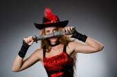 Woman pirate with sharp weapon — Stockfoto